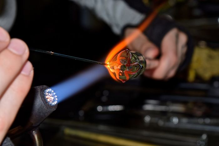 Glass Blowing #glassart #glassblowing Art Concentration Creativity Creativity Has No Limits Entrepreneur Flames Girl Power Glass Artist Glass Artistry Glass Artwork Glass Blowing Hand Made Handmade Heat Skill  The Innovator Showcase June