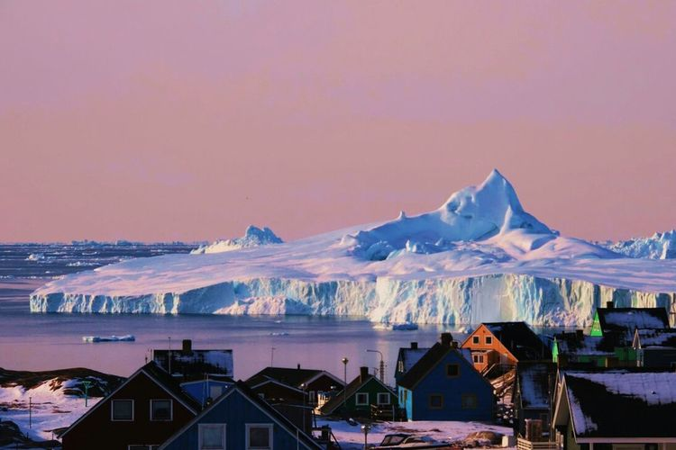 Winter Sea Sky Greenland Icebiergs Landscape City