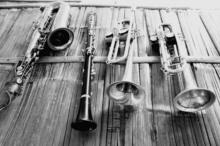 Musical Instrument Music Arts Culture And Entertainment Wood - Material High Angle View Close-up Woodwind Instrument Wind Instrument Brass Instrument  Brass Blues Music Trumpet Jazz Music Flute Fretboard Musical Instrument String Musical Equipment Saxophone Percussion Instrument Saxophonist Acoustic Guitar Cymbal