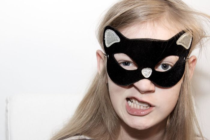Close-up Copy Space Express Yourself ExpressYourself Girl Power Girls Growing Up Having Fun Headshot Kitten Looking At Camera Masquerade Portrait Portrait Photography Portraits Self Confidence Strong White Background Youth Youth Of Today