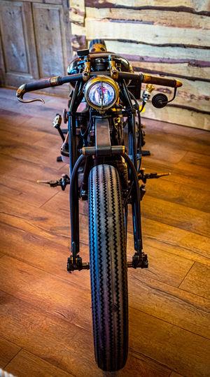 High angle view of bicycles on hardwood floor