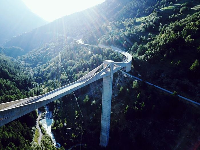 High angle view of road by mountain