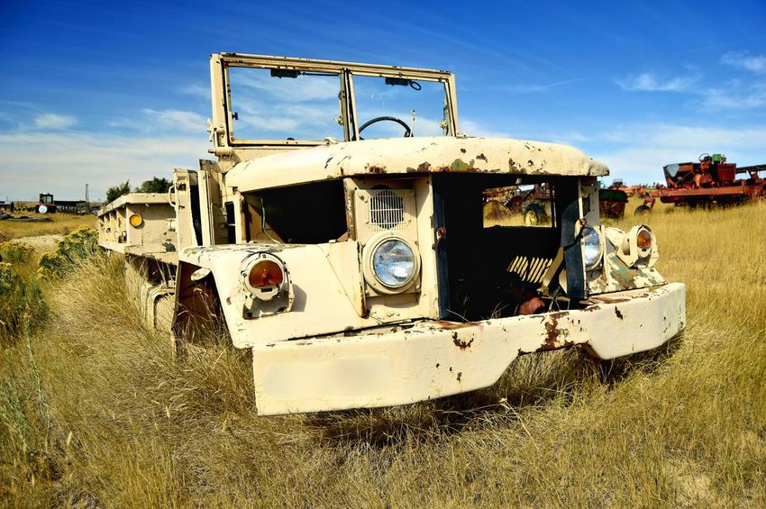 Engine gone Outdoors Clouds And Sky Yellow Color North Of Douglas Wyoming Abandoned Deteriorated Junkyard Truck Weathered Metal Old Rusted Bad Condition