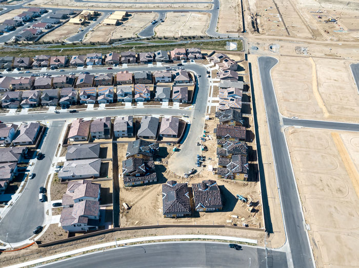 Menifee, CA / USA - 12/30/2018: An aerial view of partially developed Audie Murphy Ranch High Angle View Day Nature Outdoors Neighborhood Construction Sky Suburban Development Development/construction Housing Development Road Building Exterior Architecture Aerial View Built Structure