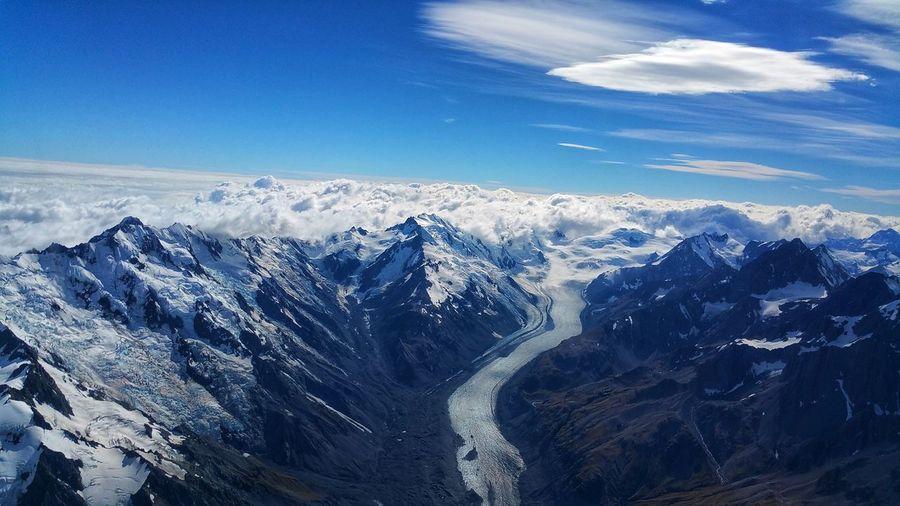 Mt Cook New Zealand Mountain Blue Aerial View Wave Sky Cloud - Sky Landscape