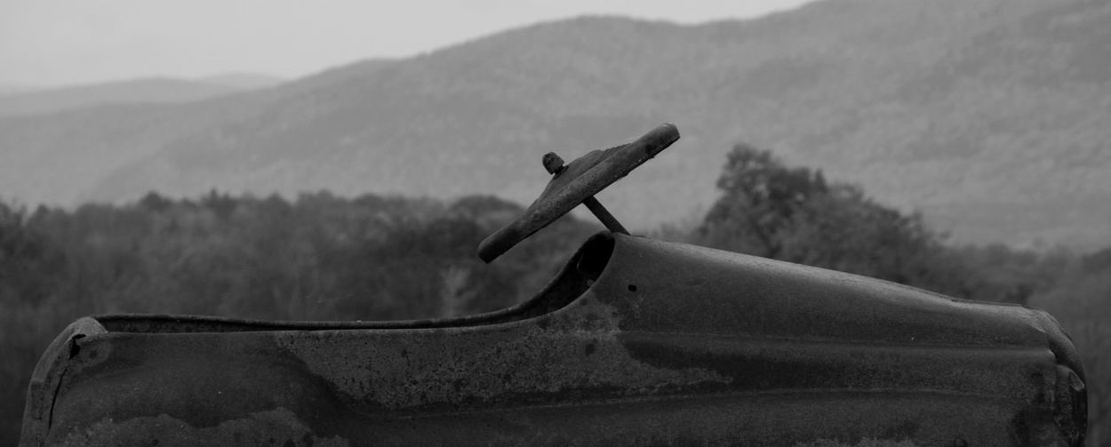 Peddlewagon Car Childs Toy In The Middle Of Nowhere Rusting Mountain View Check This Out New England's Endless Beauty! Black And White Collection  Black And White Photography Black And White Nature OpenEdit Blackandwhite From Where I Stand Shades Of Grey Country Drive