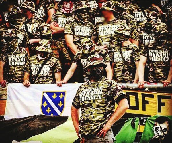 Day Shirtless Men Real People GERMANY🇩🇪DEUTSCHERLAND@ East Germany Dynamo Dresden Karlsruhe Ultras Hooligans Army Football Stadium 2. Bundesliga Camouflage Bosnian Flag Adult People Outdoors Adults Only Only Men