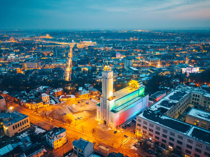 Colorful building. Lights festival City Drone  Lietuva Aerial View Architecture Building Exterior Built Structure City Cityscape Colorful Dji Drone Illuminated Lights Festival Long Exposure Mavic Mavic Pro Night No People Outdoors Sky