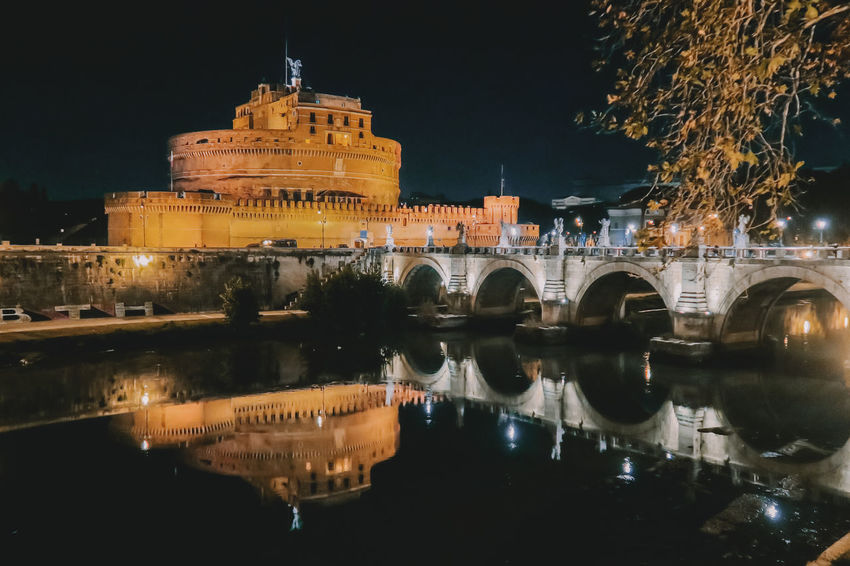 Castel Sant'Angelo Castle Architecture Building Exterior Built Structure City History Illuminated Night No People Outdoors Reflection Sky Travel Destinations Water Waterfront
