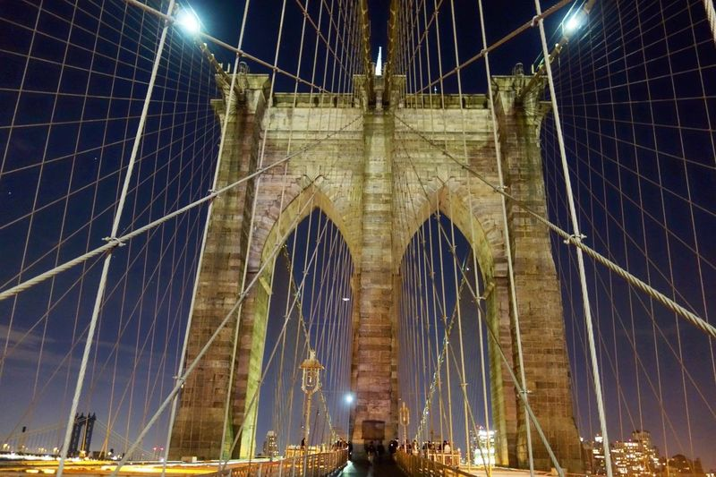 Architecture Suspension Bridge Built Structure Bridge - Man Made Structure Connection Travel Destinations Illuminated Tourism Travel Low Angle View Night Outdoors City Sky No People