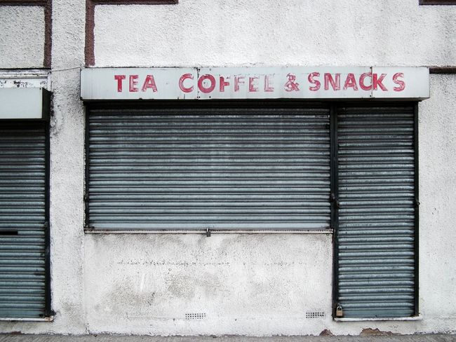 Built Structure Text Closed Architecture Building Exterior Outdoors Shutter No People Day Close-up London Minimalism Cafe Bar Cafeteria Coffee Coffee Time Coffee And Cigarettes Coffee Shop Retro East London Abandoned Abandoned Places