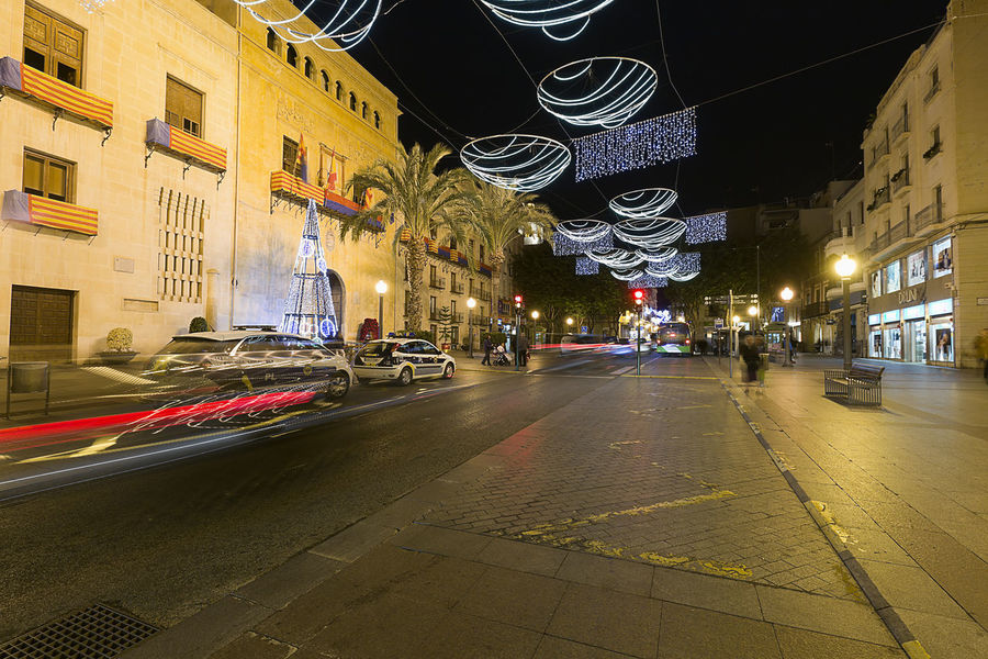 Elche, Spain. December 18, 2017: Town Hall Square of the city of Elche, with Christmas decoration. Alacant Alicante Alicante Province Spain Christmas Elche Elx SPAIN Spanish Travel Architecture Building Exterior Built Structure Car Chrismas Lights Christmas Decoration Christmas Ornament City Illuminated Land Vehicle Night No People Outdoors Road Sky Street Transportation Travel Destinations