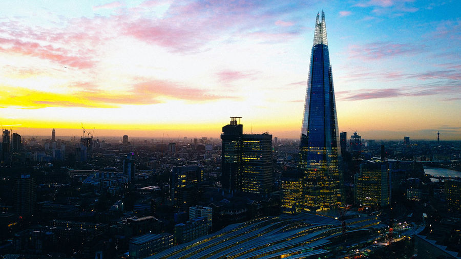 Architecture Building Exterior Built Structure City Cityscape Day Londonbridge Modern No People Outdoors Shard Sky Skyscraper Sunset Tall Tall - High Tower Travel Destinations Urban Skyline Colour Your Horizn