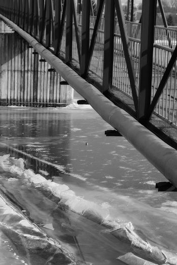 Leading Lines Perspective Industrial Winter Black And White Blackandwhite Photography Bnw Bridge - Man Made Structure Concrete Pillars Frozen River Steel Bridge