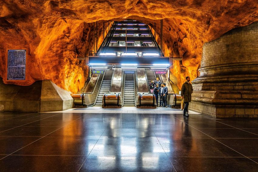 Metro station in Stocholm, Sweden Architecture Indoors  Metro Metro Station Escelator Pictureoftheday The Week On EyeEm Streetview Streetphotography Street Photo Streetphoto_color Street Photography Streetphoto Street Life Bestoftheday Canonphotography Built Structure Low Angle View Illuminated