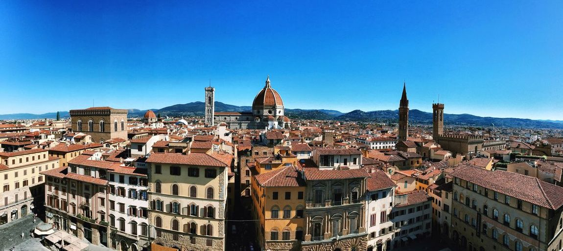 Panorama view of florence against clear blue sky