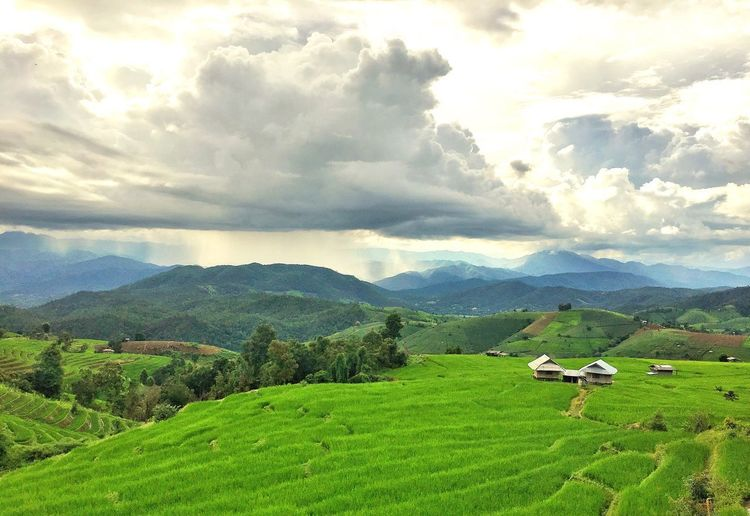 farmvile on the hill Agriculture Mountain Landscape Farm Cloud - Sky Field Beauty In Nature Nature Scenics Sky Tranquil Scene Travel Photography Mountain Range Backpacker Beauty In Nature Freshness Growth Green Color No People Outdoors Day Growth Rice Paddy