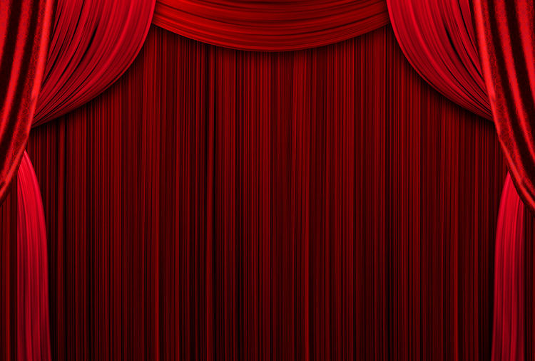 Red curtains theater scene stage backdrop. curtain with space for copy. show background performance.