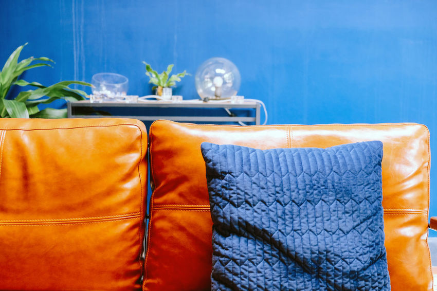 Close up detail of blue pillow on leather sofa Decor Leather Living Orange Pillow Absence Blue Blue Background Brown Close-up Clothing Container Cushion Decoration Decorations Decorative Flower Flowering Plant Furniture Furniture Details Glass Home Interior Indoors  Interior Design Leather Sofa Living Room Luxury Nature No People Orange Color Plant Potted Plant Sofa Still Life Table Textile Towel Vase