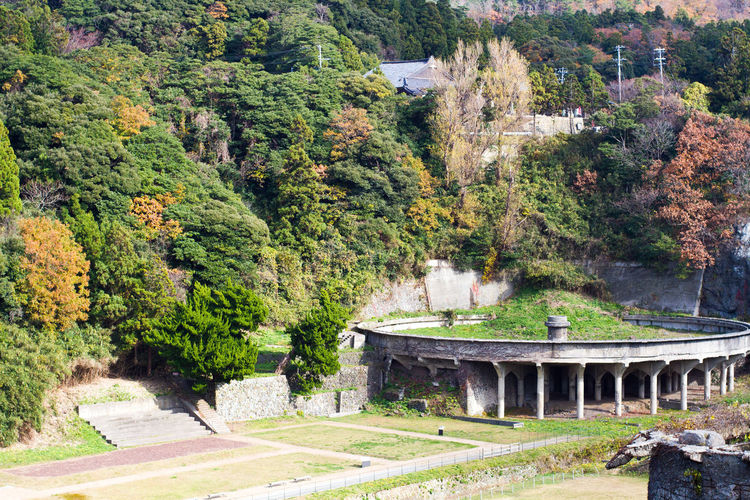 High Angle View Of Old Ruin Building By Trees On Field