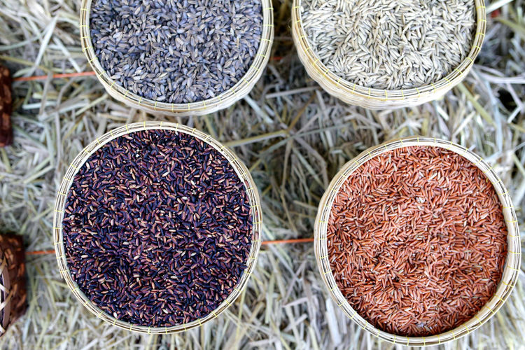 Jasmine rice Brown rice and black rice seed top view Food And Drink Food Spice No People Variation Choice Plant Close-up Freshness High Angle View Market Retail  For Sale Seed Nature Container Herb Dried Food Red Indoors  Jasmine Raw Food Seed Rice Paddy Thailand