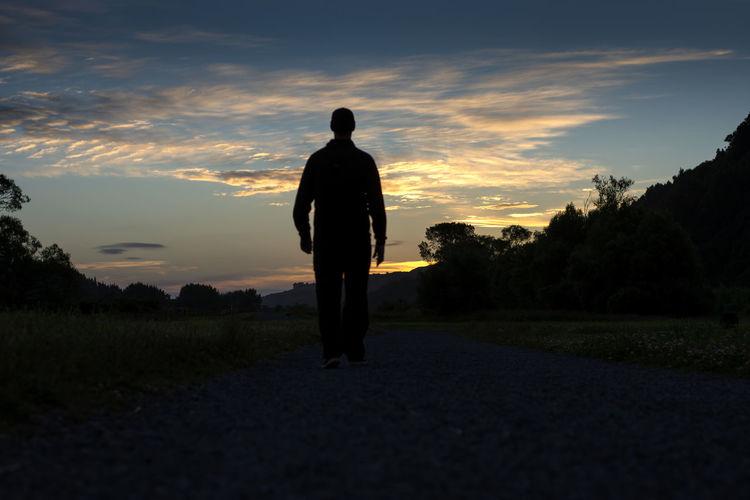 Rear view of silhouette man walking on landscape