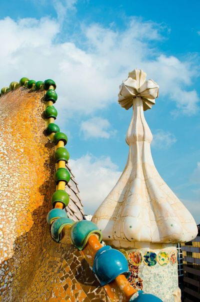 SPAIN Catalunya Barselona Gaudi Arhitecture Casa Batllo. Gaudi Roof Good Morning From The Rooftop Amazing Architecture