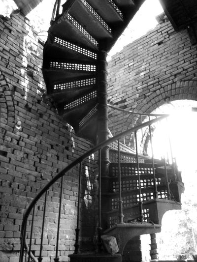 Stairways Wrought Iron Design Abandoned Buildings Brick Wall