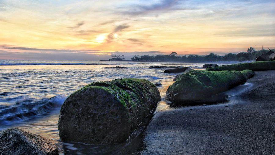 Giant boulders on beach