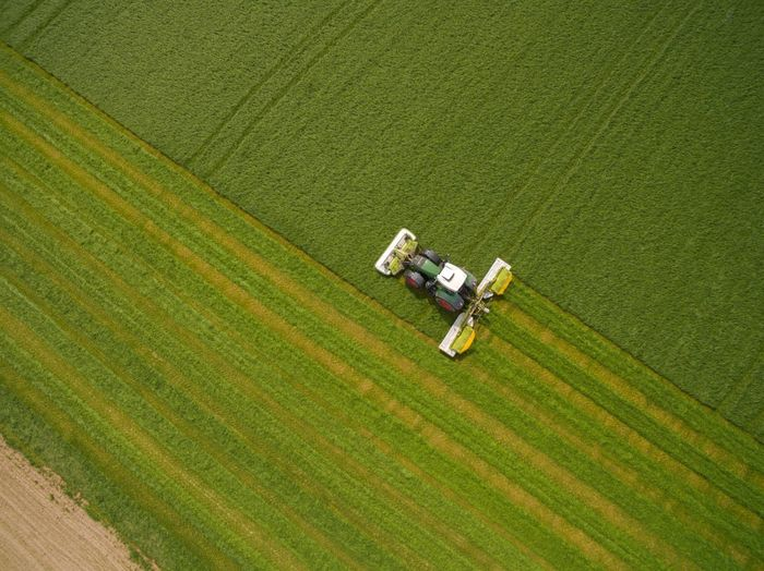 High angle view of motorcycle on agricultural field