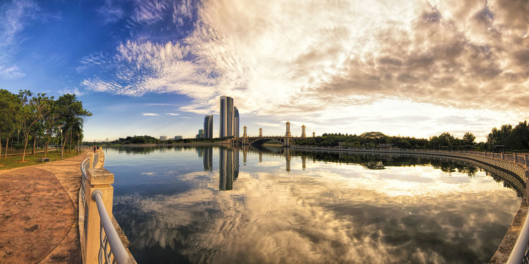 Beautiful scenery with clouds and reflection. Blue Sky And Clouds Bridge - Man Made Structure Cloud - Sky No People Outdoors Panoramic Landscape Reflection Reflection_collection Sky Tranquility Travel Destinations Water