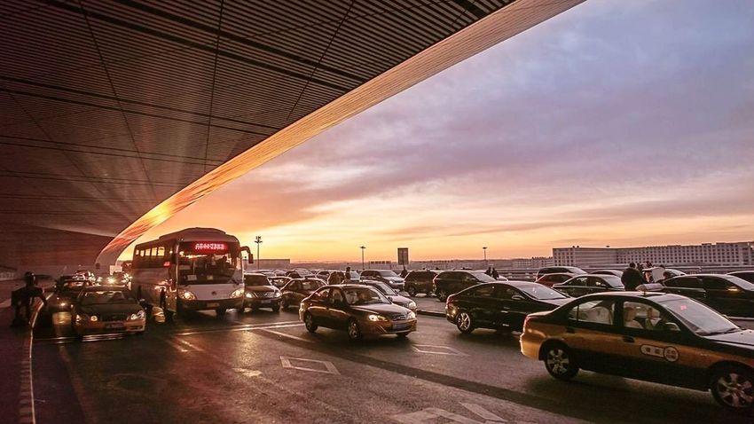 On the way home! International Landmark Architecture Sunrise Airport Beijing, China