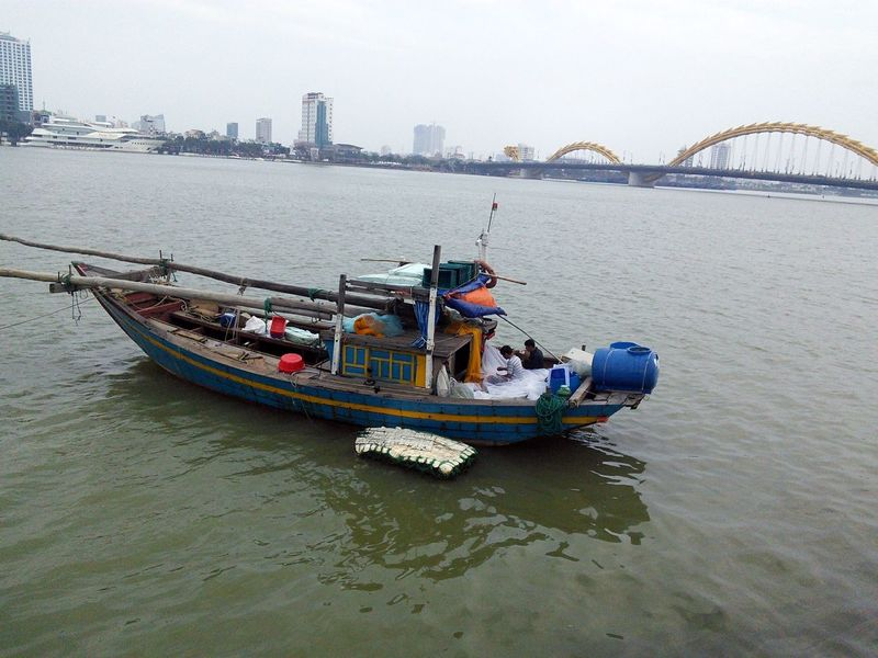 Architecture Bridge - Man Made Structure Building Exterior Built Structure City Da Nang Day Mode Of Transport Nature Nautical Vessel Outdoors Real People River Sky Skyscraper Transportation Travel Destinations Vacation Destinations Vietnam Water Waterfront