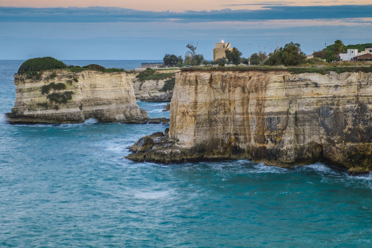 Beach Beauty In Nature Coast Coastline Day Italy Landscape Nature No People Outdoors Rock - Object Rock Formation Rocky Coast Rocky Coastline Salento Scenics Sea Sky Tranquil Scene Tranquility Travel Travel Destinations Travel Photography Traveling Water