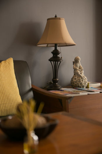 Lamp on table at home