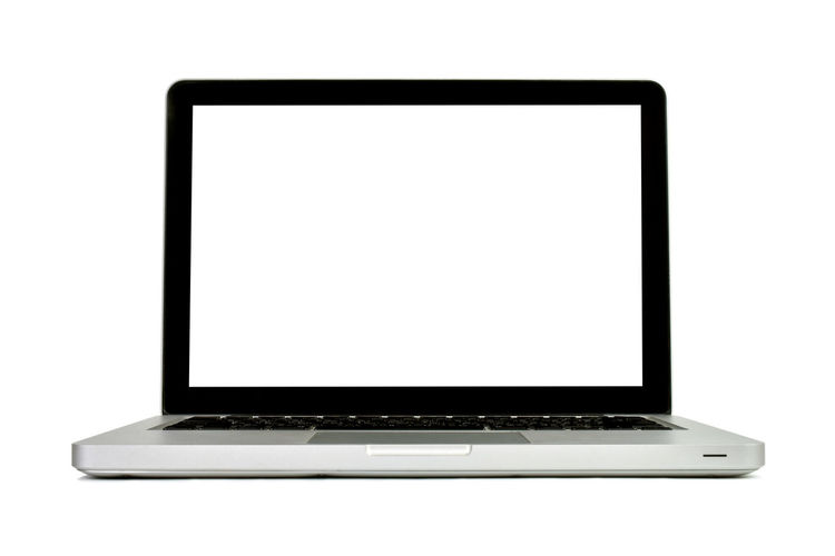Low angle view of laptop against white background