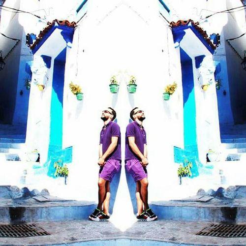 Chefchaouen City Street Bluestreet Double Mirroreffect Effetmiroir Marocco Morocco Ruelles Rue Bleue Bleu Blue Visit Turism Tourist Travel Voyage Trip Me Self Moi Myperson Profile profil purple violet