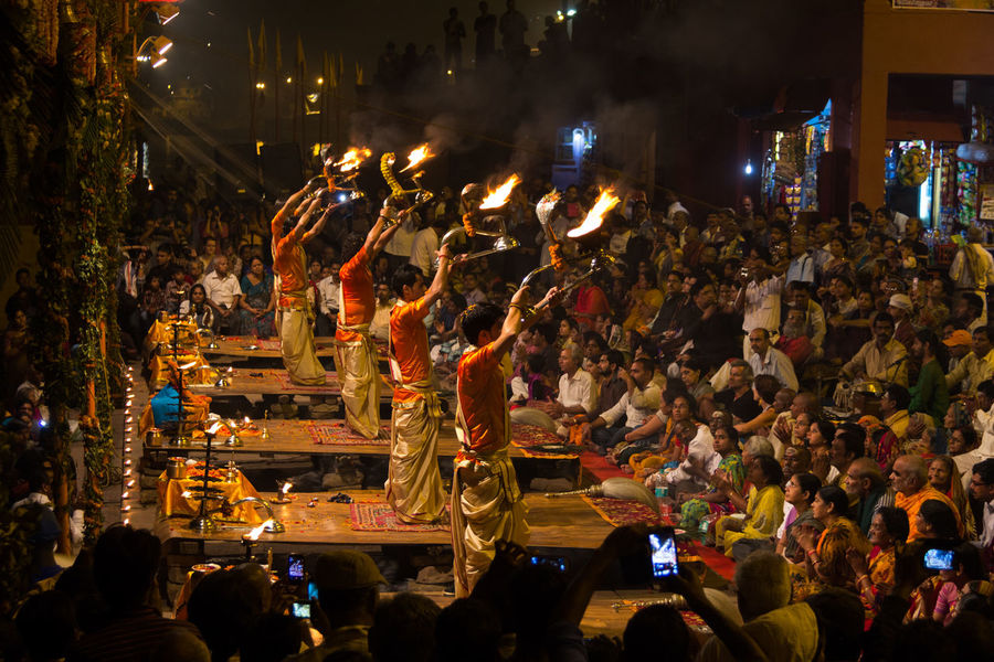 ganga aarti varansi Varanasi Aarti Ganga Ghat Cluture Incredible India Faith&devotion Group Of People Night Arts Culture And Entertainment Nightlife Enjoyment Built Structure Men Real People Crowd Devotees Piligrim