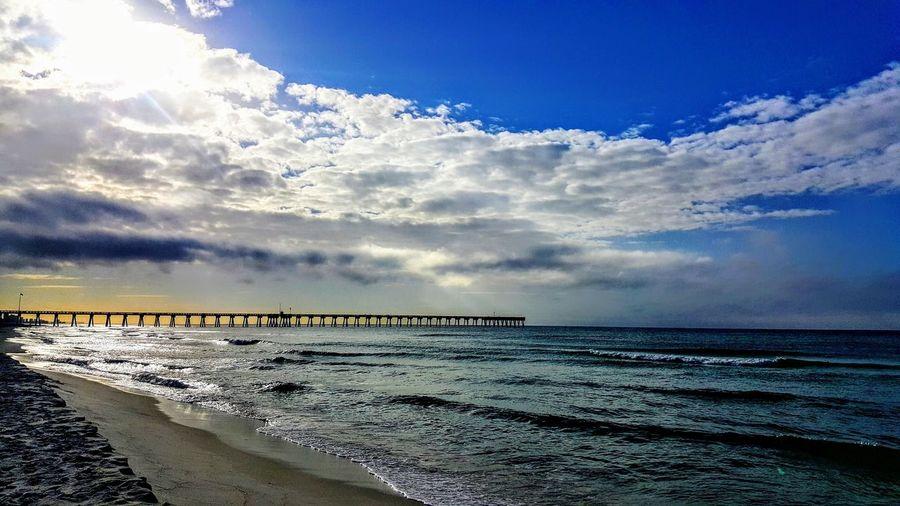 Water Sea Beach Sand Sunlight Blue Sky Horizon Over Water Cloud - Sky