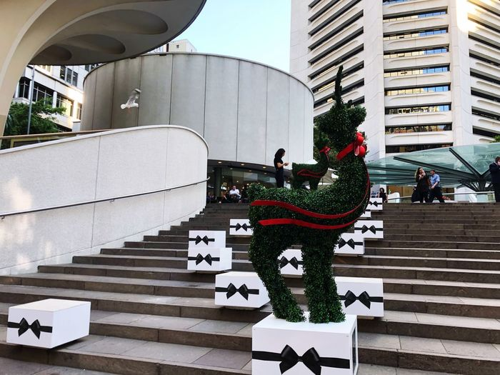 Starting to feel a lot like Christmas... 🎄 Christmas Is Coming Sydney Local Osanpo Camera Architecture Building Exterior Built Structure City Staircase Day Steps And Staircases Building Modern City Life Street