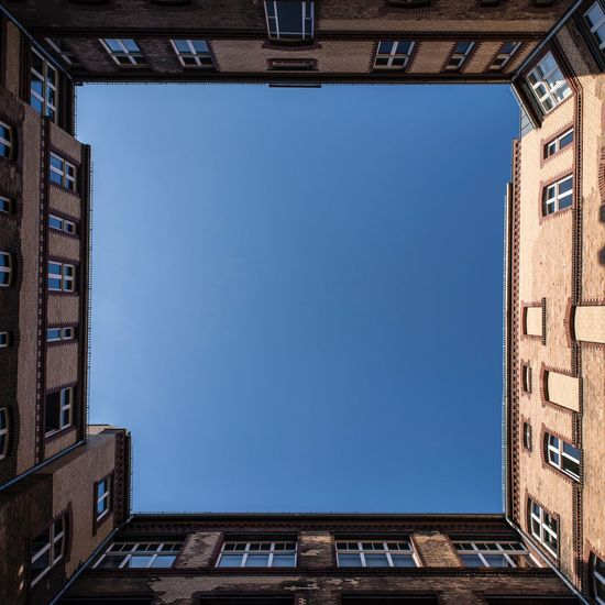 Berlin Architecture Sky Built Structure Clear Sky Building Exterior Blue No People Building Nature Low Angle View City Copy Space Window Day Outdoors Directly Below History The Past Sunlight Travel Destinations