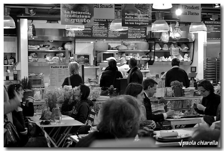 People sitting in kitchen