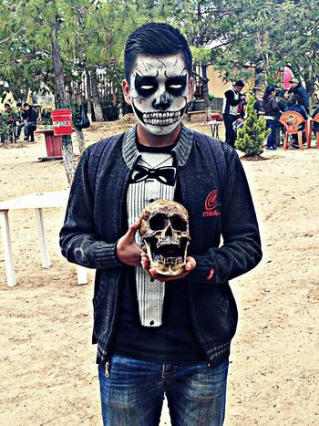 Men Diademuertos Maquillaje Muerte Mexico Oaxaca Festividad