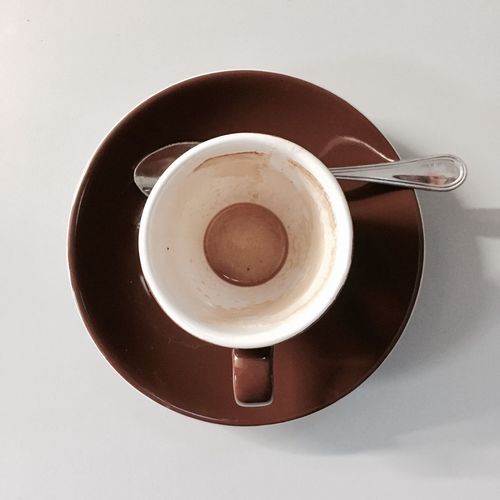 Coffee - Drink Coffee Cup Drink Food And Drink Refreshment Directly Above Saucer Freshness Table No People High Angle View White Background Indoors  Studio Shot Close-up Food Frothy Drink Day