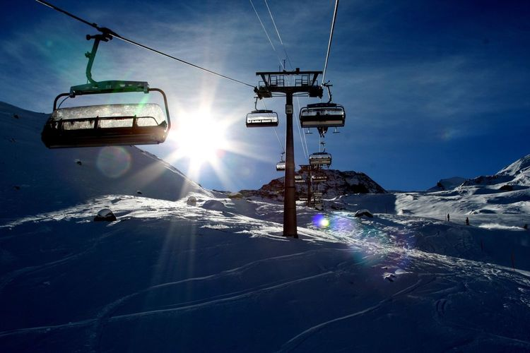 Winter Snow Cold Temperature Sky Ski Lift Weather Nature Outdoors Mountain Sun Day Beauty In Nature Skiing