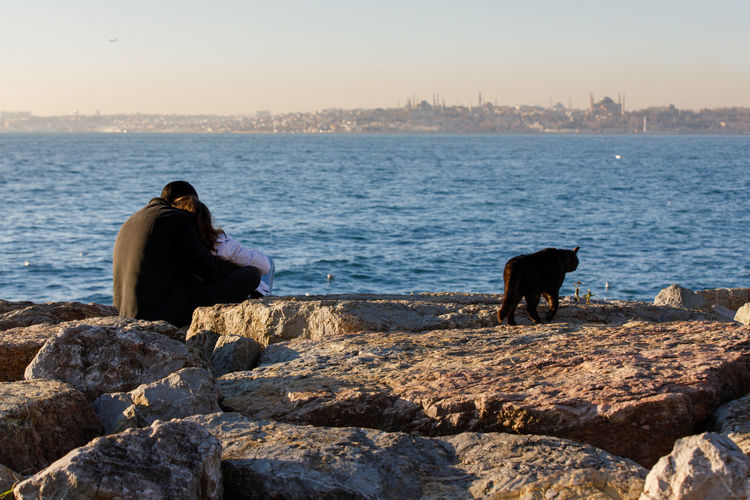 Love Couple Black Cat Istanbul Sea Embankment Seaside Water Sky Solid Rock Real People Mammal Rock - Object One Animal Rear View Sitting Nature One Person Pets Domestic Animals Domestic Outdoors Looking At View Hood - Clothing