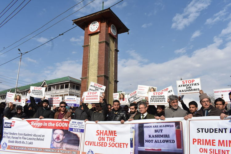 Traders carried out a protest in Srinagar on Friday against the harrassment of Kashmiris in different parts of India. Protest Demonstration India Kashmir Politics And Government Crowd City Politics