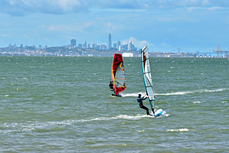 Windsurfing At Coyote Point 16 Windsurfers Windsurfing Coyote Point Riding The Winds San Francisco Bay Men Wetsuits Wind Sails Surfboards Motion Wakes Extreme Sports Sports Photography Aquatic Sports Cityscape San Francisco Skyline Bay Bridge Hunters Point Battleship Crane A Day On The Bay Water Urban Skyline Sportsman Water Sport Rushing Skyscraper Office Building Tall - High