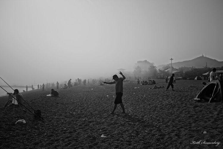 foggy beach Black & White Blackandwhite Taking Photos Enjoying Life People And Places