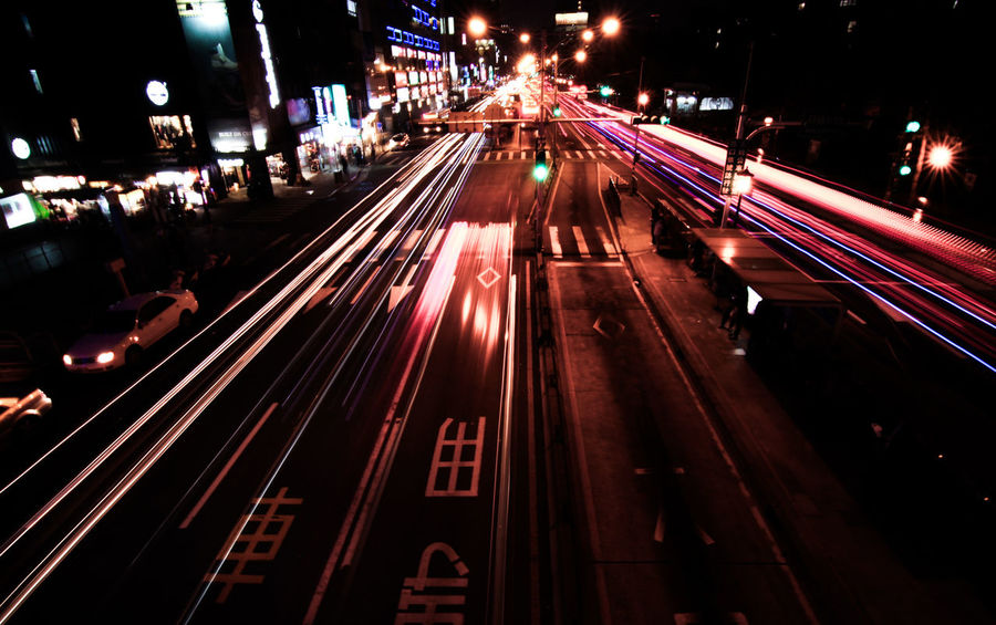 Taipei night view Architecture Brilliant City City Life From Top To Bottom High Angle View Illuminated Light Trail Long Exposure Motion Night Night View Night View Of City No People Outdoors Road Shiny Taipei Taipei City Taipei,Taiwan Taiwan Track Tracks Traffic Transportation